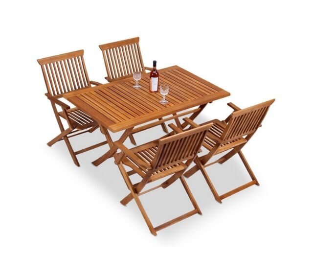 Outdoor Dining Table 4 Chair Set Wooden Folding Coffee Deck Patio Furniture Wood