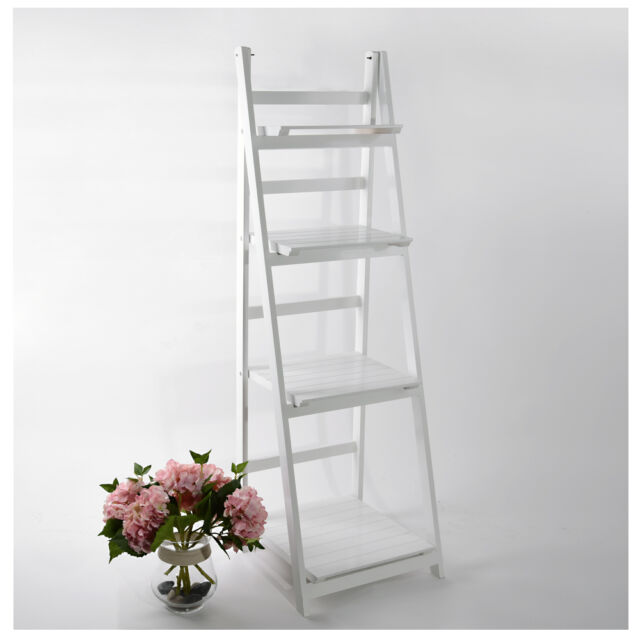 Ladder Book Shelf Bookcase Stand Free Standing Shelves Storage Unit 4 Tier White