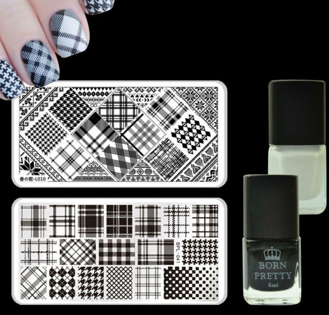 Grids Theme Nail Art Stamp Plates Kit Black White Color Stamping ...