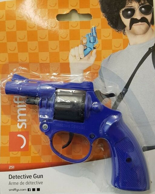 Detective Fancy Dress Toy Gun Revolver Cop Gun 8 Shot Caps New by Smiffys