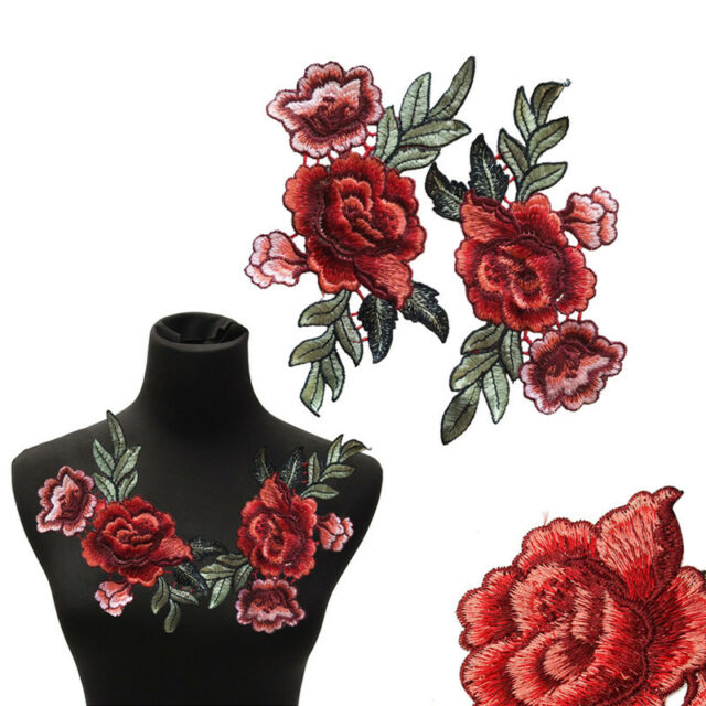 2Pcs/Set Rose Flower Patch Floral Embroidered Applique Patches Sew on For  DIY R