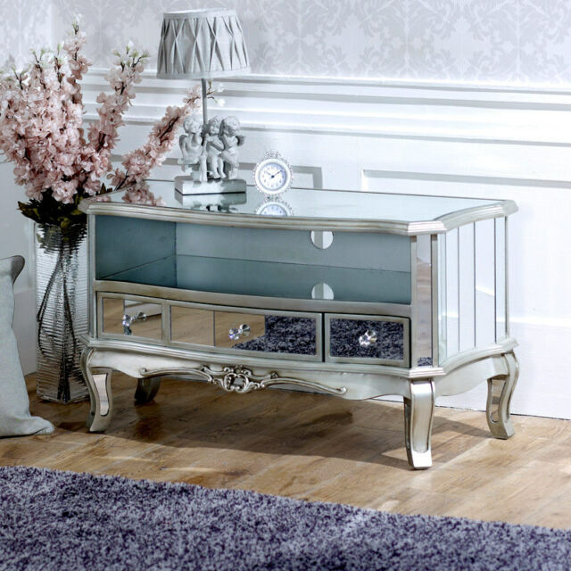 Mirrored Vintage Style TV Cabinet Unit Shabby French Chic Living Room  Furniture Part 98