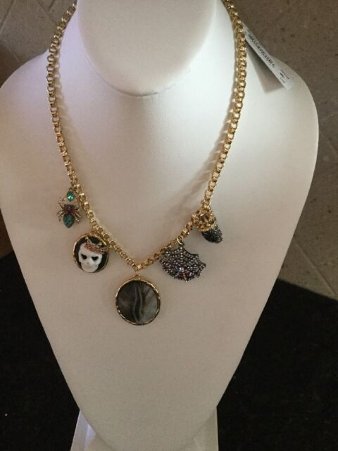 Betsey johnson jewelry halloween skeleton cameo necklace ebay betsey johnson two tone cameo skull and spider pendant necklace bf4 aloadofball Image collections