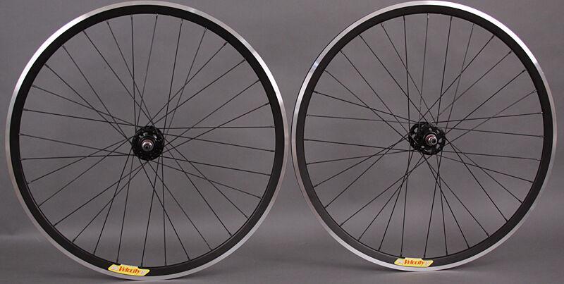 Velocity Deep V All Black Fixed Gear Track Bike Wheels Wheelset