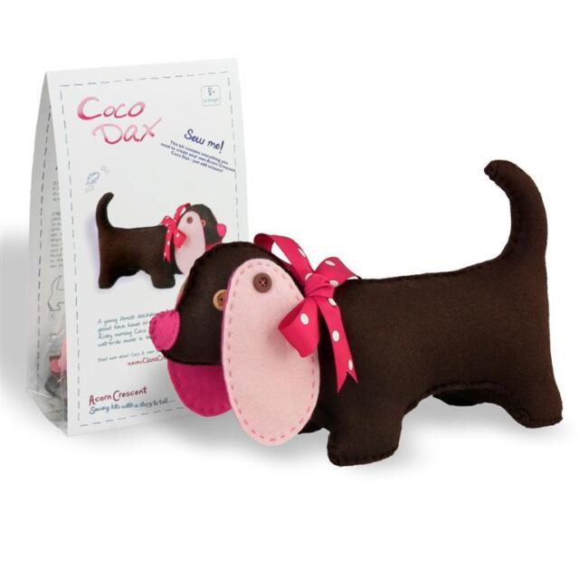 COCO DAX - Felt Dachshund Dog Sewing Kit for Age 8+ by CLARA + FREE BOOKMARK