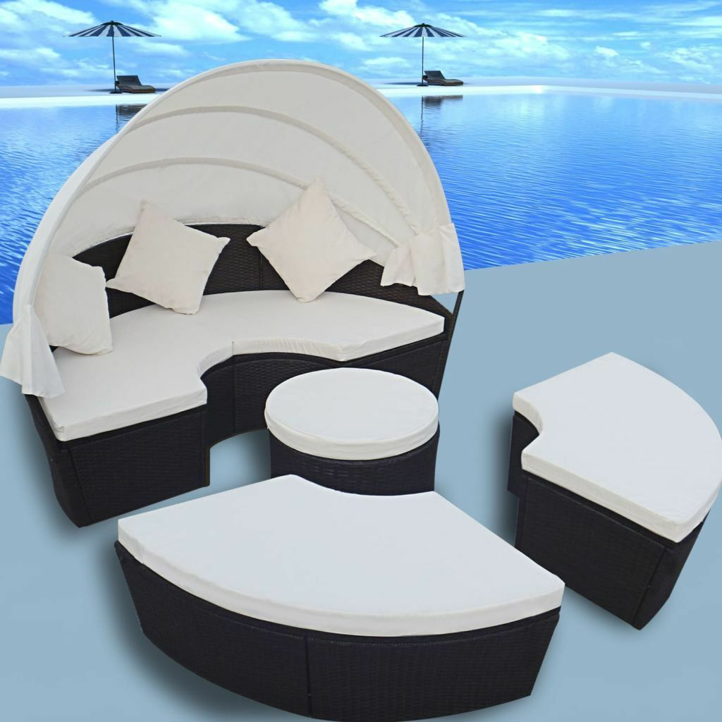 patio outdoor rattan  wicker in sofa sunbed round daybed retractablecanopy. round sofa  ebay