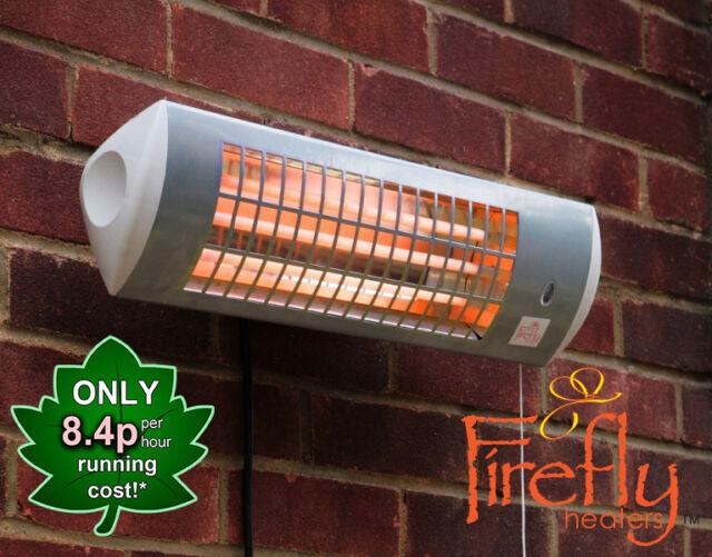 Firefly Wall Mounted Electric Patio Heater Halogen Quartz Garden Outdoor