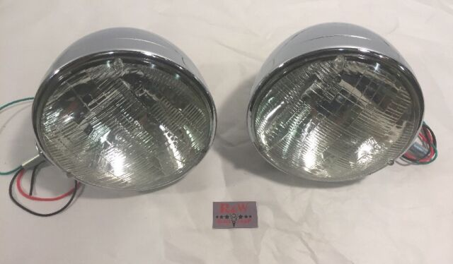 Pair Dietz 7  Chrome Street Rod Head Light Sealed Beam Assembly Bullet & United Pacific A5022SB Dietz Style Headlight 7 Diameter 6014 Beam ...