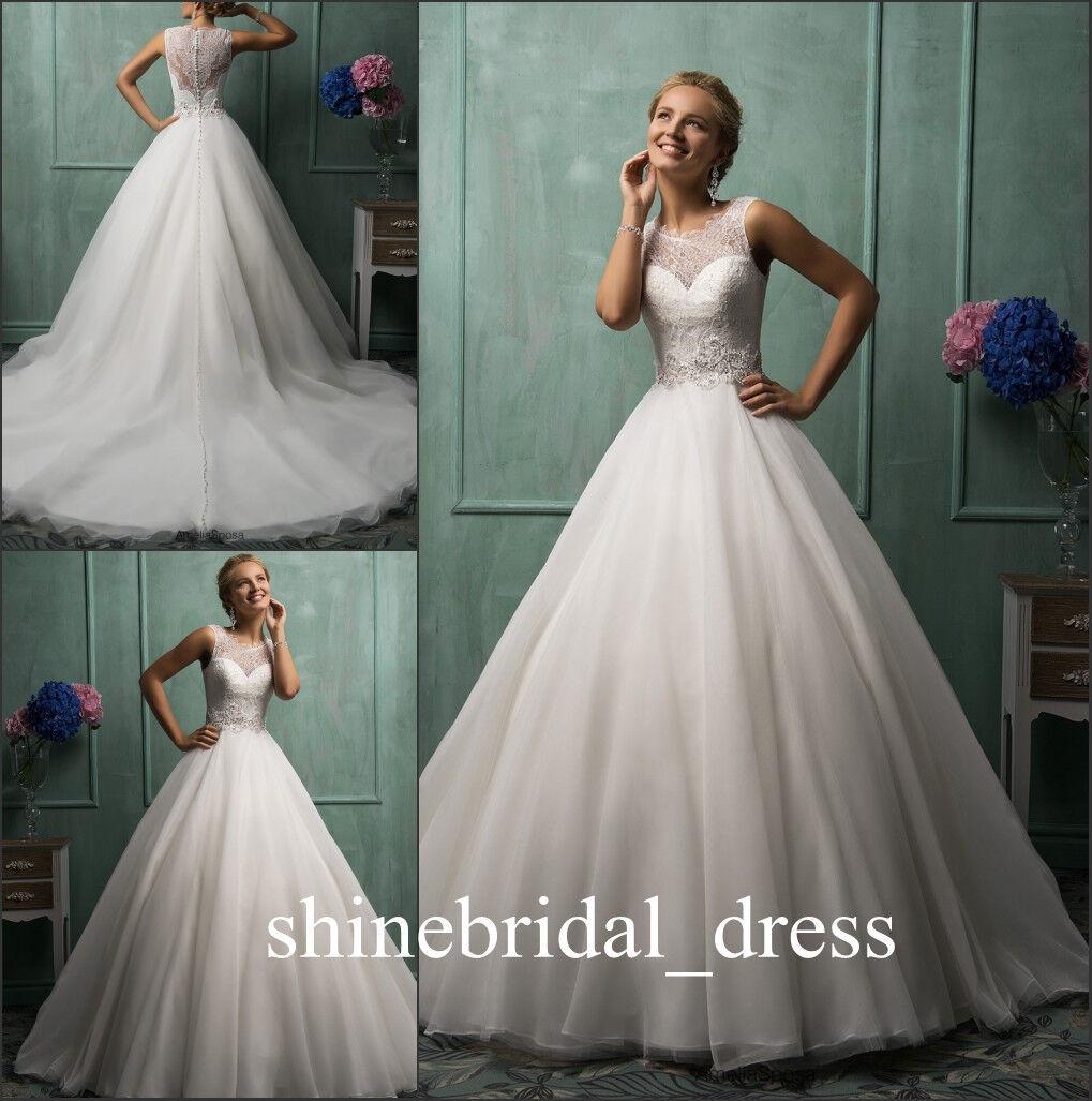 Modest Scoop Princess Lace Amelia Sposa Wedding Dresses Chapel ...