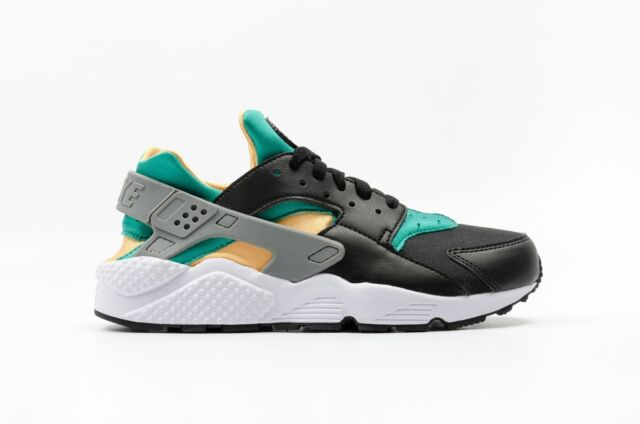 "NIKE AIR HUARACHE ""EMERALD"" 318429-018 BLACK/WHITE/EMERALD RESIN"