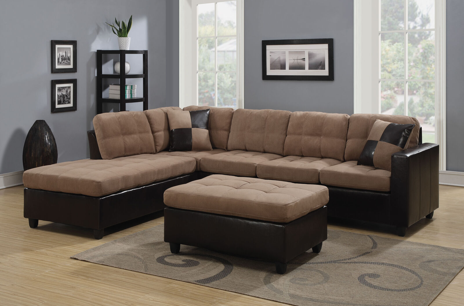 Coaster 505675 Mallory Reversible Sectional Sofa In Chocolate And Tan