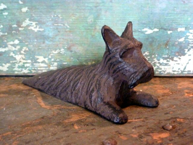 Cast Iron Metal Animal Pet Scottie Dog Door Stop Wedge Home Garden