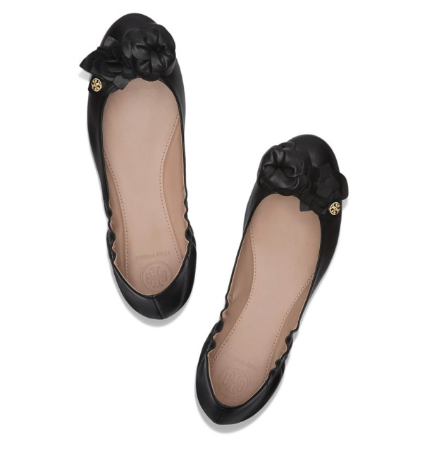 Tory Burch 32458 Blossom Ballerina Ballet Flats 7917 Black Leather Size 8