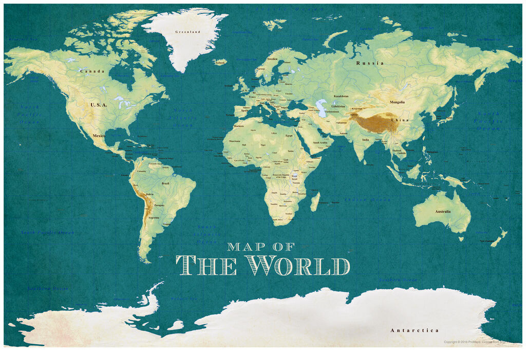Promaps map of the world vintage style blue art print poster 12x18 picture 1 of 1 gumiabroncs Gallery