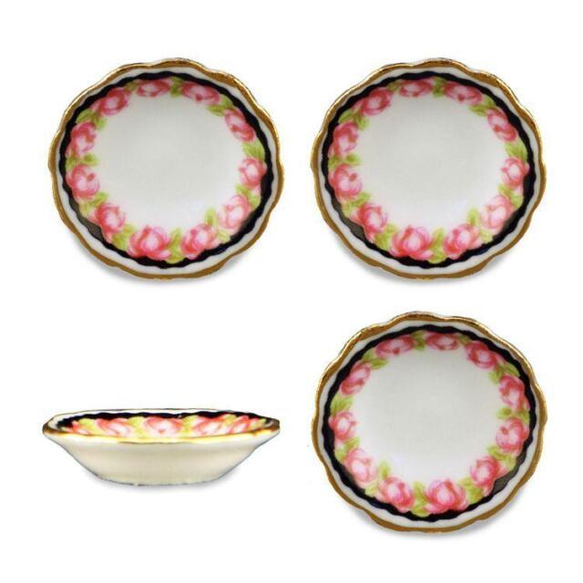 Dollhouse Soup Bowl Set for 4 Reutter 1391/8 Black Rose Miniature 112  sc 1 st  eBay & Reutter Porzellan 4 Soup Plate Black Rose Black Bowl Set Dollhouse 1 ...