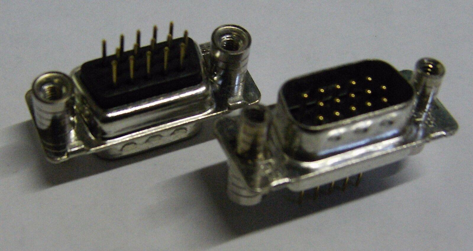 2 X CONEC CDS15PFHDUNMAGSN 15 Way 3 Row VGA PCB Mount Plug | eBay