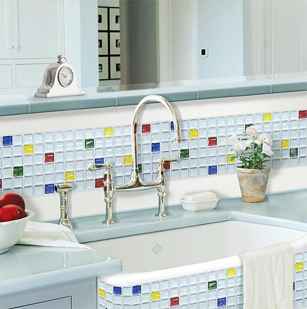 Home Bathroom Kitchen Wall Decor 3d Stickers Wallpaper Art Tile RGBY ...