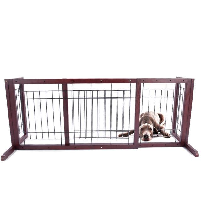 Wood Dog Gate Playpen Adjustable Indoor Solid Construction Pet Fence ...