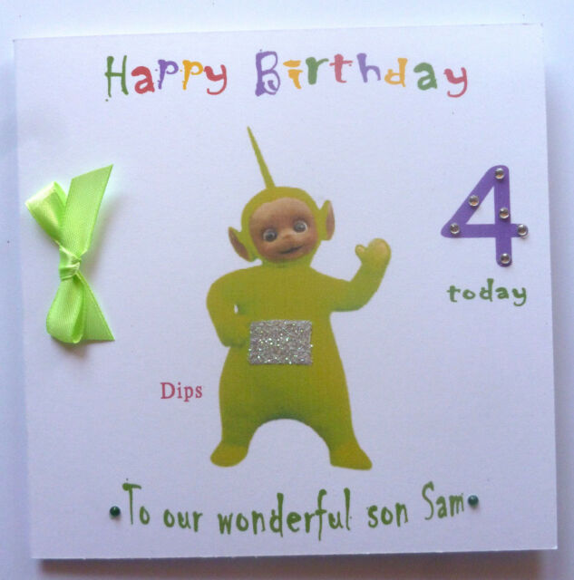 Personalised Hand Made 6in Square Teletubbies Dipsy Birthday Card
