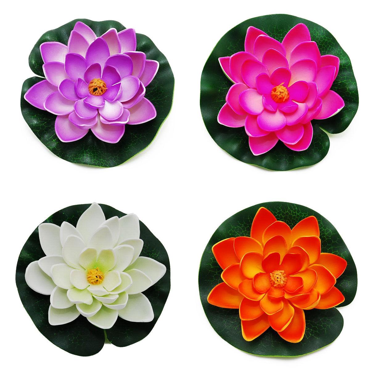 Water Lily Lotus Foam Flower Cnz Medium Floating Pond Decor Set Of 4