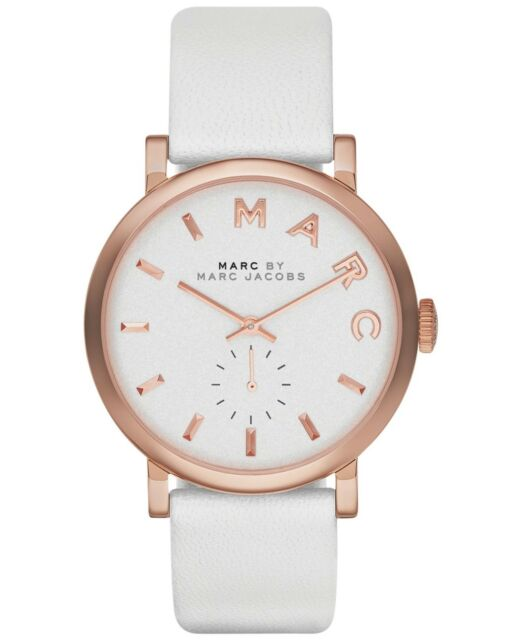 New Marc by Marc Jacobs Women's MBM1283 Baker Rose-Tone White Leather Band Watch