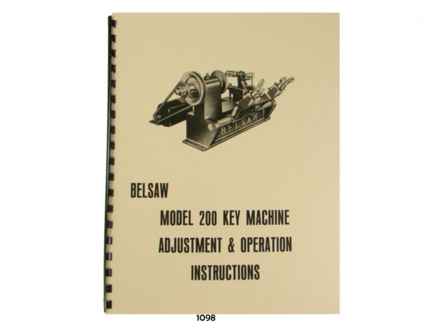 Foley Belsaw Model  Key Machine Adjustment And Operation