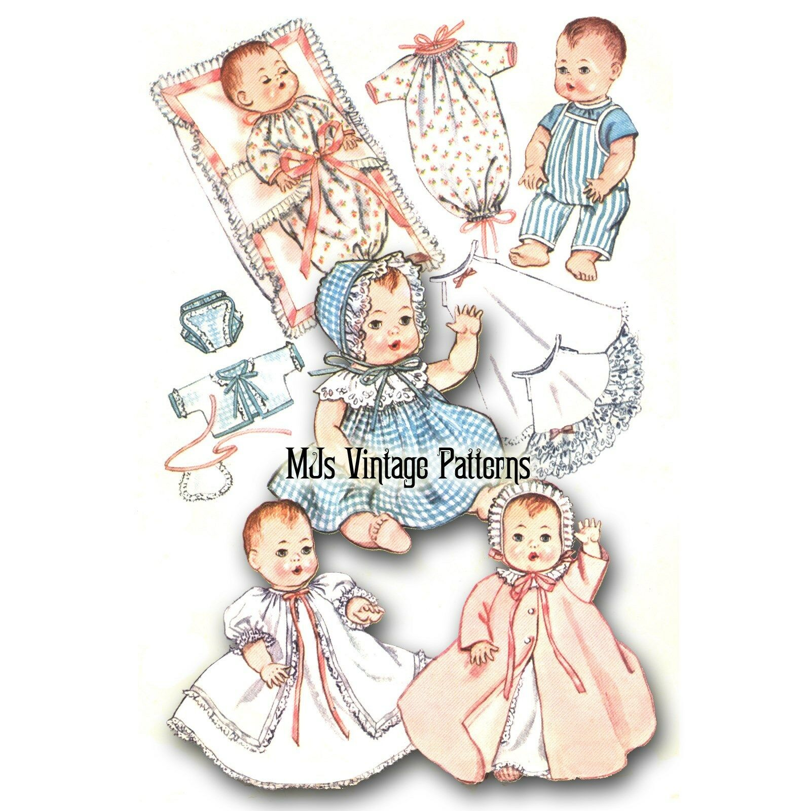 Baby Doll Clothes Vtg Pattern For 8 Ginny Ginnette Wendy Alexander