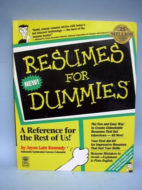 for dummies resumes for dummies by joyce lain kennedy 1996 paperback ebay - Resume For Dummies
