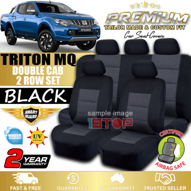 MITSUBISHI TRITON MQ DOUBLE CAB 2015-2018 BLACK CUSTOM FIT SEAT COVERS DUAL CAB