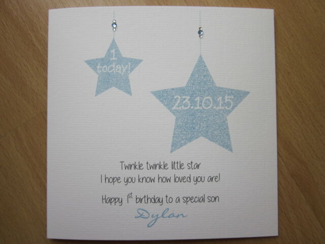 Personalised Handmade Boys 1st First Birthday Card With Twinkle – 1st Birthday Card Verses