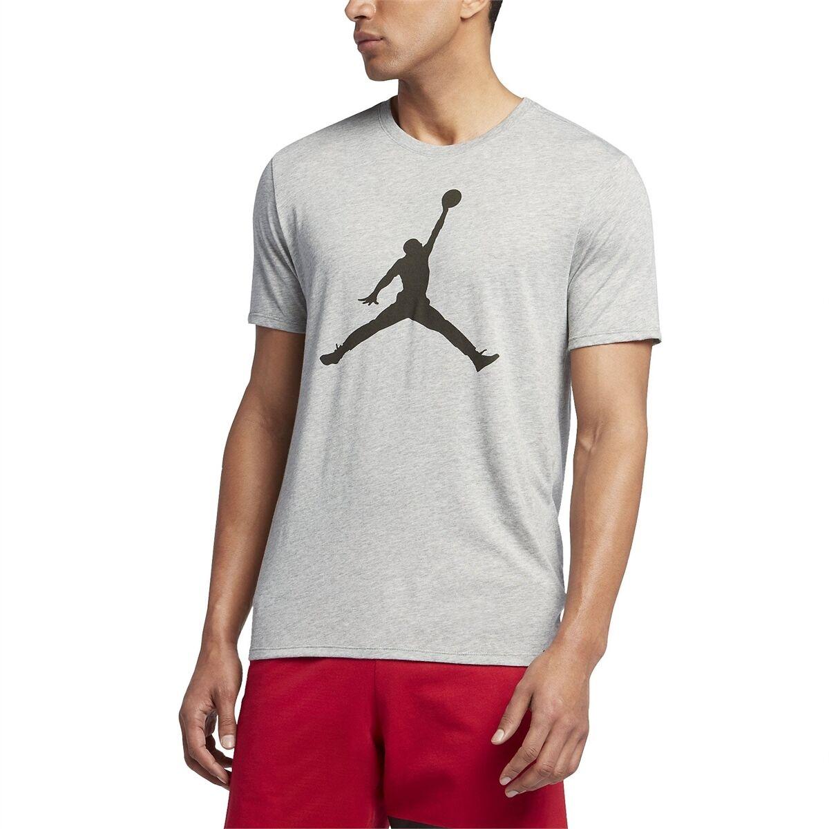 Jordan Iconic Jumpman Logo Men's T-Shirts Dark Grey Heather/Sequoia