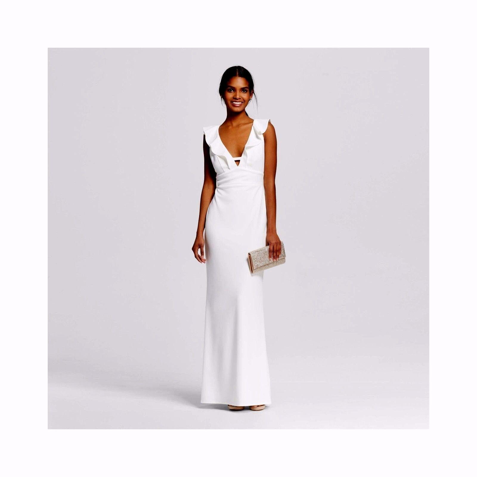 ABS by Allen Shwartz Women\'s Deep V Ruffled Gown Ivory Size S # A173 ...