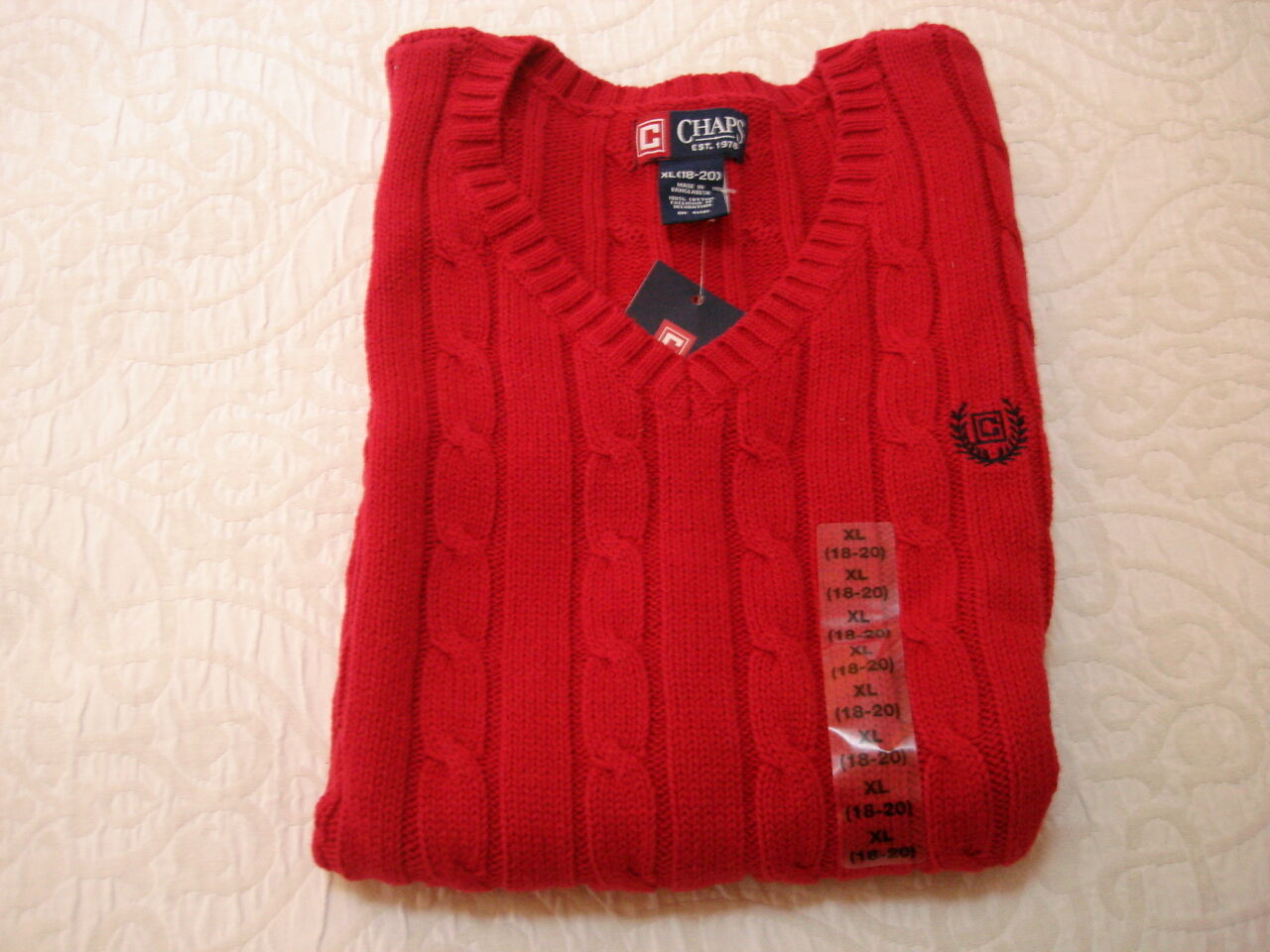 Ralph Lauren Chaps Red Sweater Vest Boys Sz XL 18 / 20 | eBay