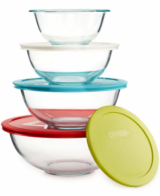 pyrex 8 piece glass mixing bowl set 1120437 round with colored lids ebay. Black Bedroom Furniture Sets. Home Design Ideas