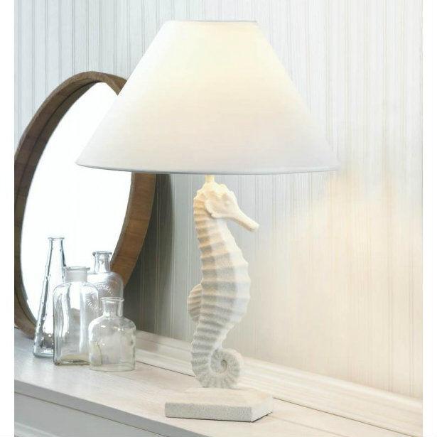 2 Set White Seahorse Table Lamp Decor 10017905 | eBay