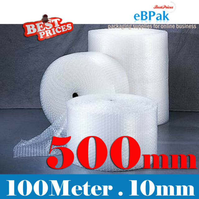 500mm x 100M Bubble Cushioning Wrap Roll Clear Polycell P10 10mm Bubbles