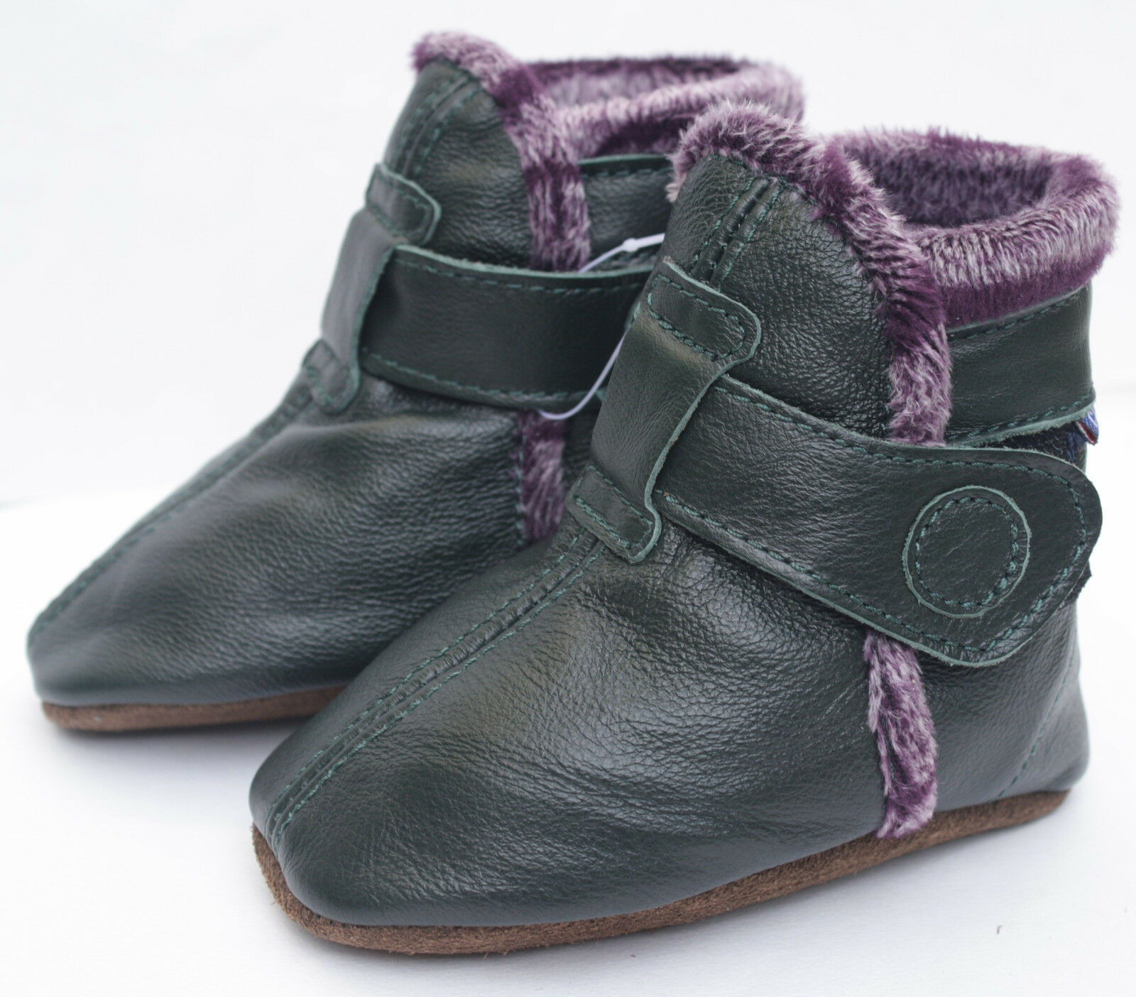 Carozoo BOOTIES Dark Green 0 6m Soft Sole Leather Baby Shoes