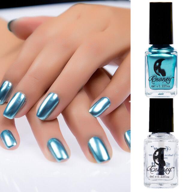 2pcs/set Mirror Effect Metallic Silver Nail Art Varnish Polish ...