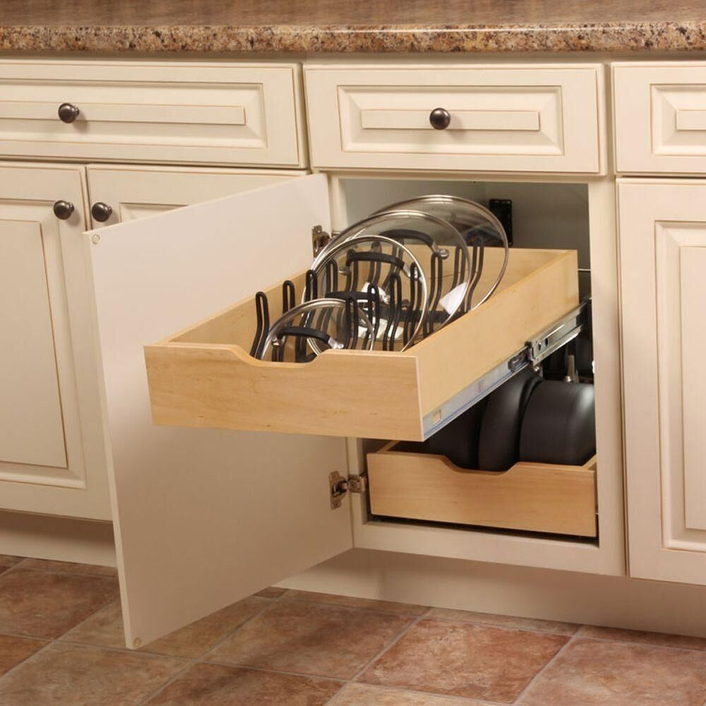 Kitchen Pot Pan Lid Holder Cabinet Pull out Drawer Organizer Cover ...