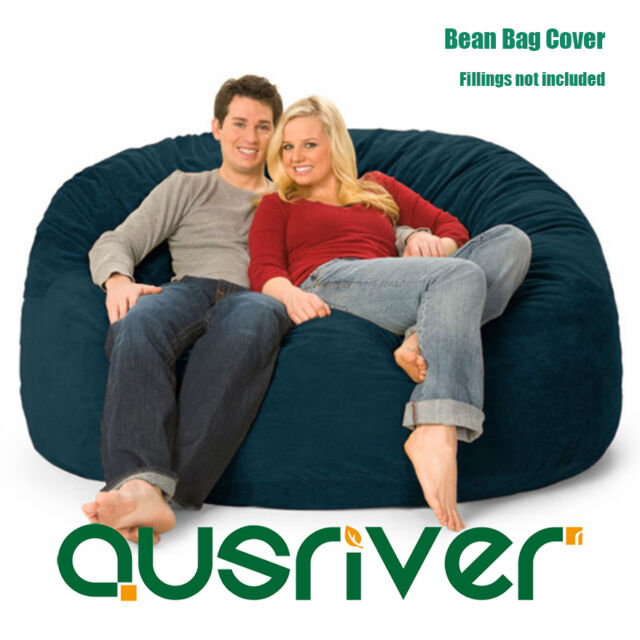 Navy Suede D150cm Large Bean Bag Cover Luxury Reading Relaxing Movie Couch  Gift