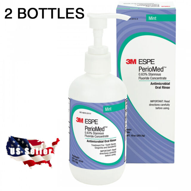 3M ESPE PerioMed 0.63% Stannous Fluoride Rinse Mouthwash Mint 2 BOTTLES