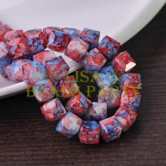 New 10pcs 10mm Cube Square Faceted Glass Loose Spacer Colorful Beads Red&Blue