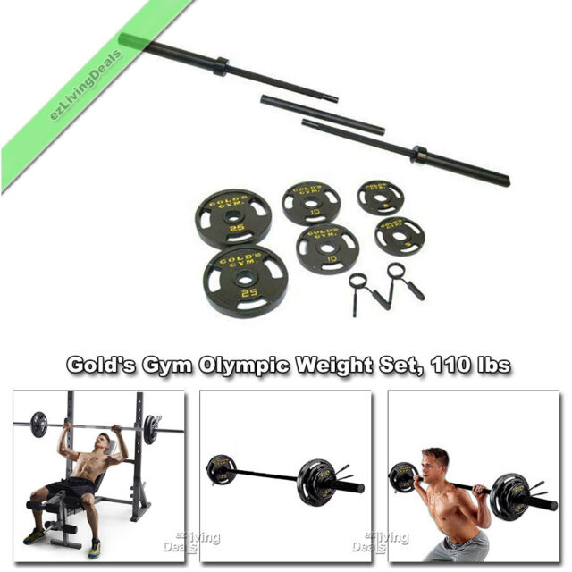Golds Gym Olympic Weights 110 Lbs Bar Cast Iron Plates Barbell Weight Set