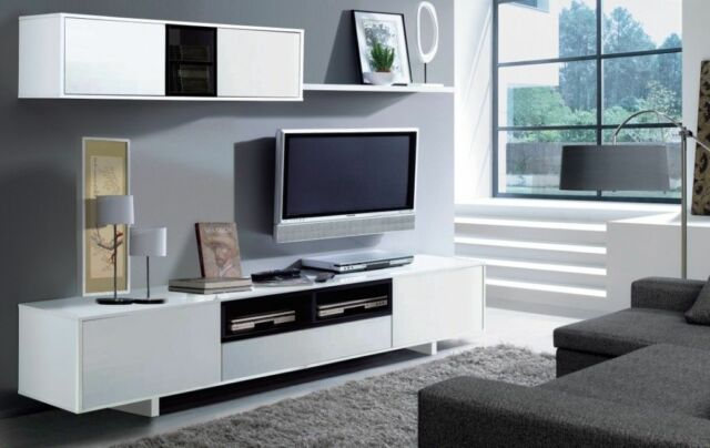 Bambi TV Unit Living Room Furniture Set Modular Media Wall White Melamine. Living Room Furniture Sets   Lounge Furniture   eBay