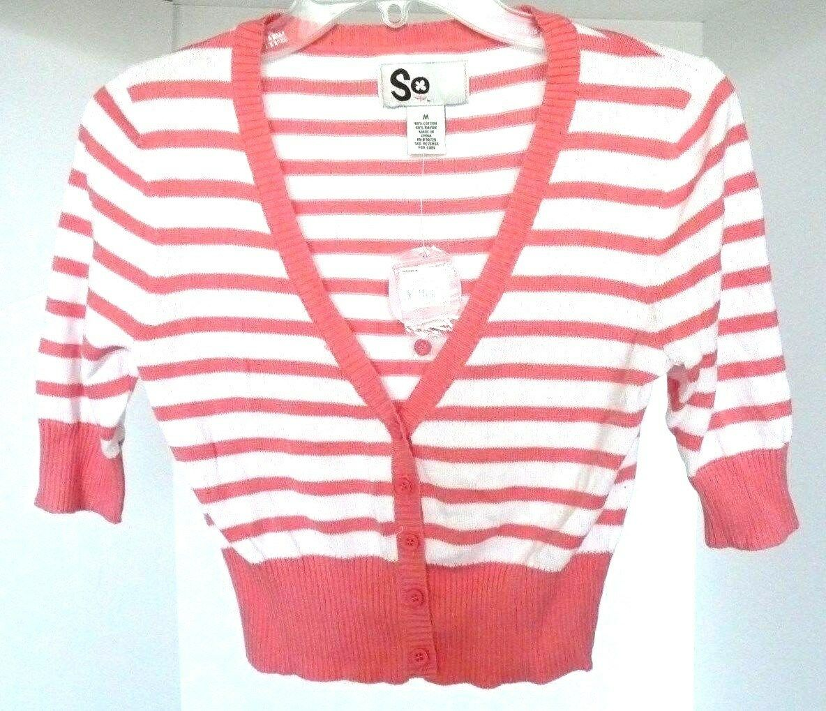 SO Juniors Pink & White Striped S/s Cropped Cardigan Sweater Size ...