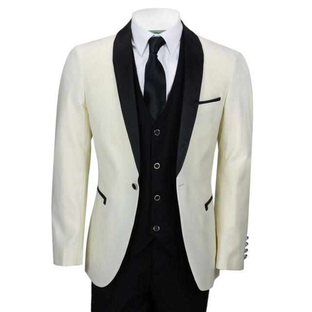Mens Ivory Black 3 Piece Tuxedo Suit Wedding Prom Grooms Wear Retro ...