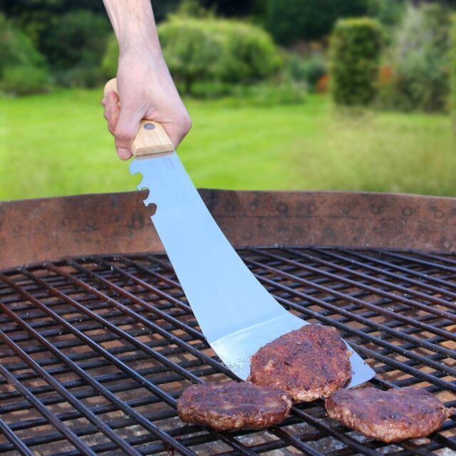 Machete Spatula Stainless Steel BBQ Tool Flipper Bottle Opener Oak Handle