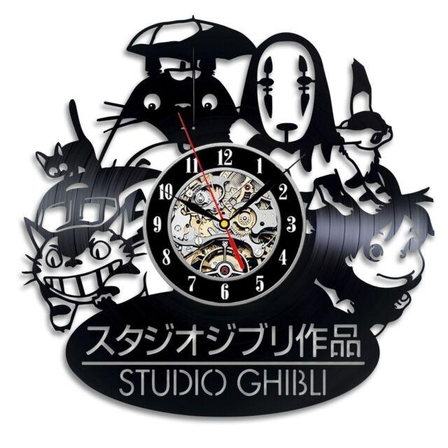 Studio Ghibli Totoro Plush Decor Wall Modern Home Movie Handmade Vinyl Clock  Art