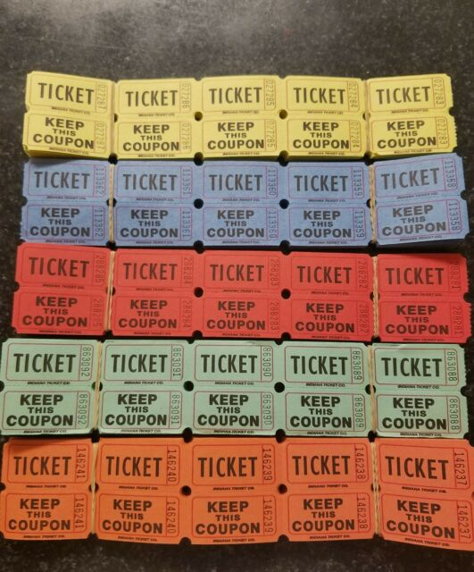 100 50 50 double stub raffle tickets in 5 assorted colors ebay