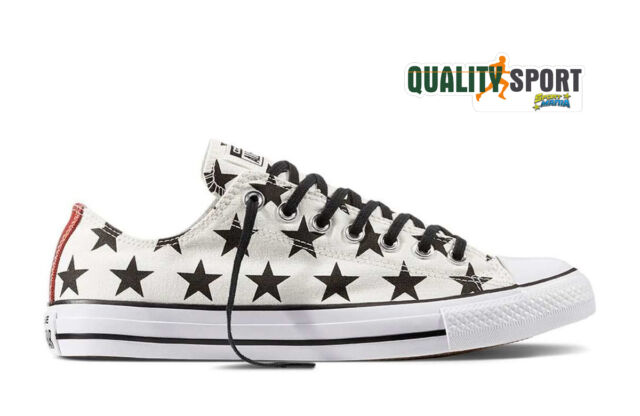 Converse All Star Bianco Stelle Unisex Scarpe Sportive Sneakers 156823C